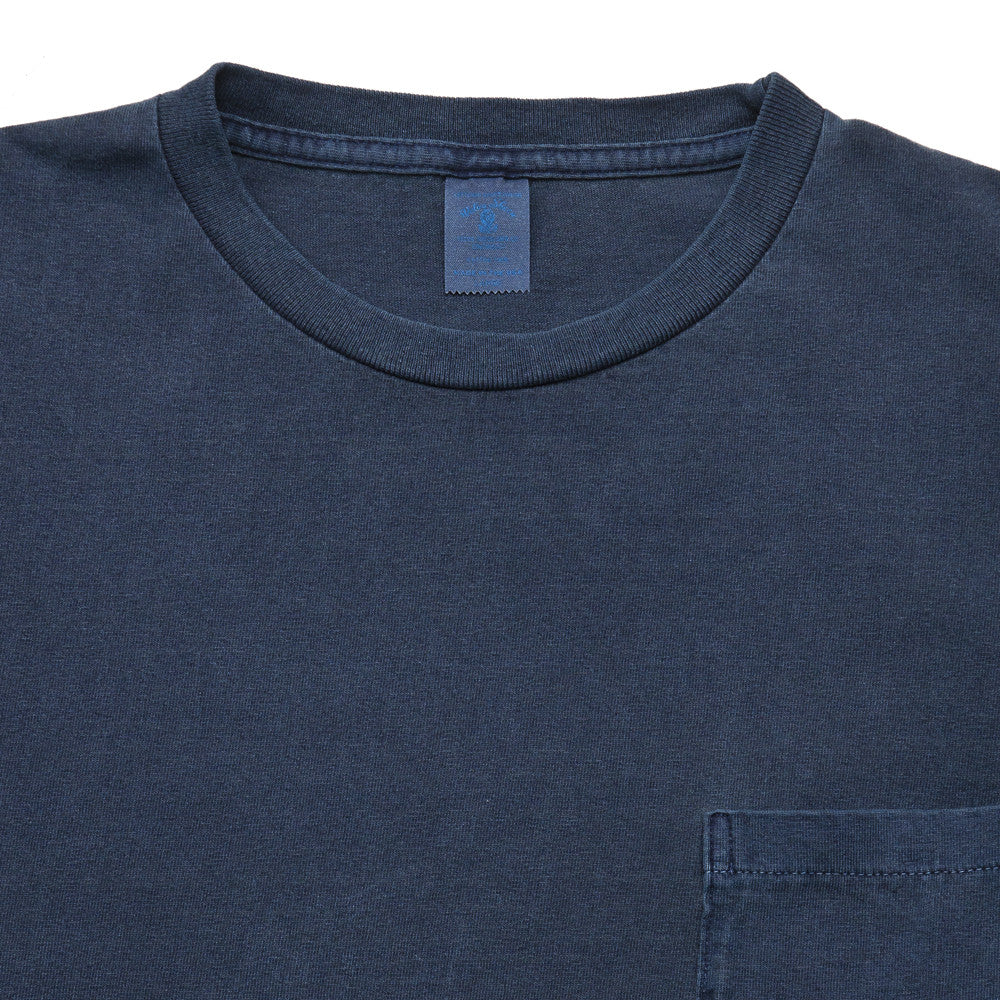 Velva Sheen Pigment Dyed Pocket T-Shirt Navy at shoplostfound, neck