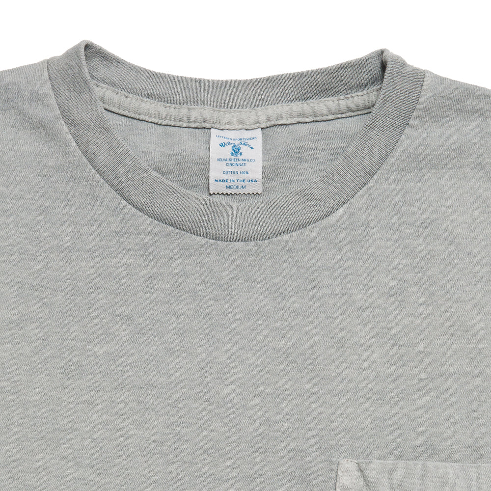 Velva Sheen Pigment Dyed Pocket T-Shirt Smoke at shoplostfound, neck
