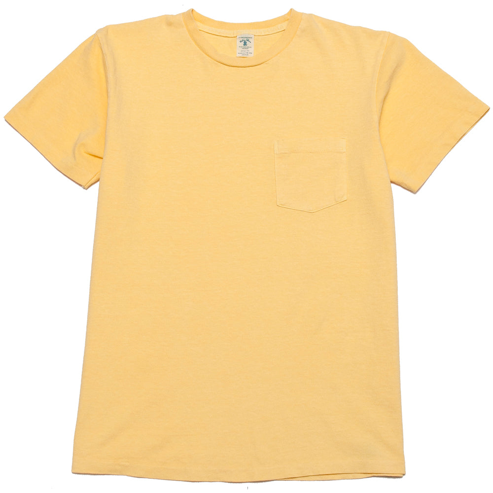 Velva Sheen Pigment Dyed Pocket T-Shirt Yellow at shoplostfound, front