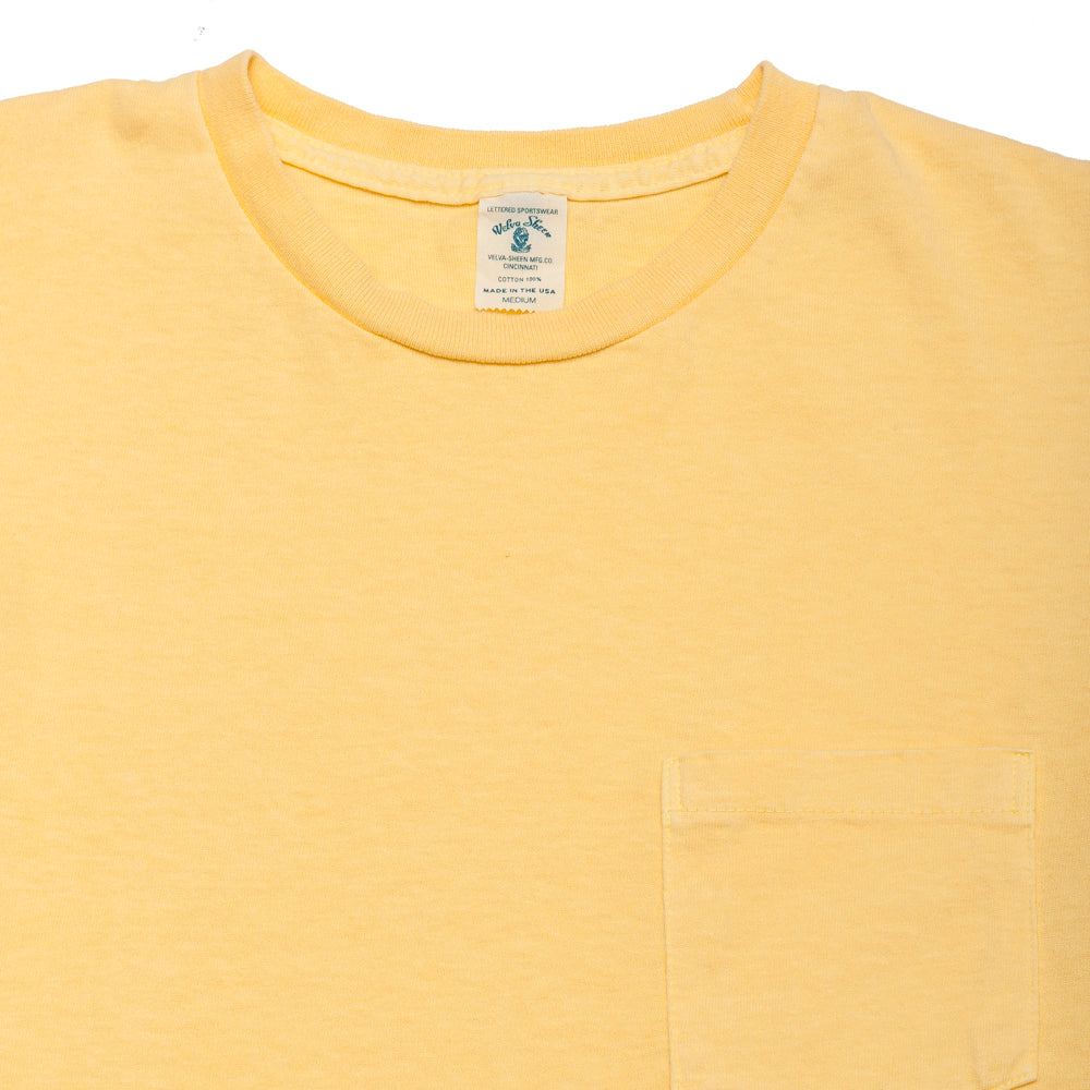 Velva Sheen Pigment Dyed Pocket T-Shirt Yellow at shoplostfound, neck