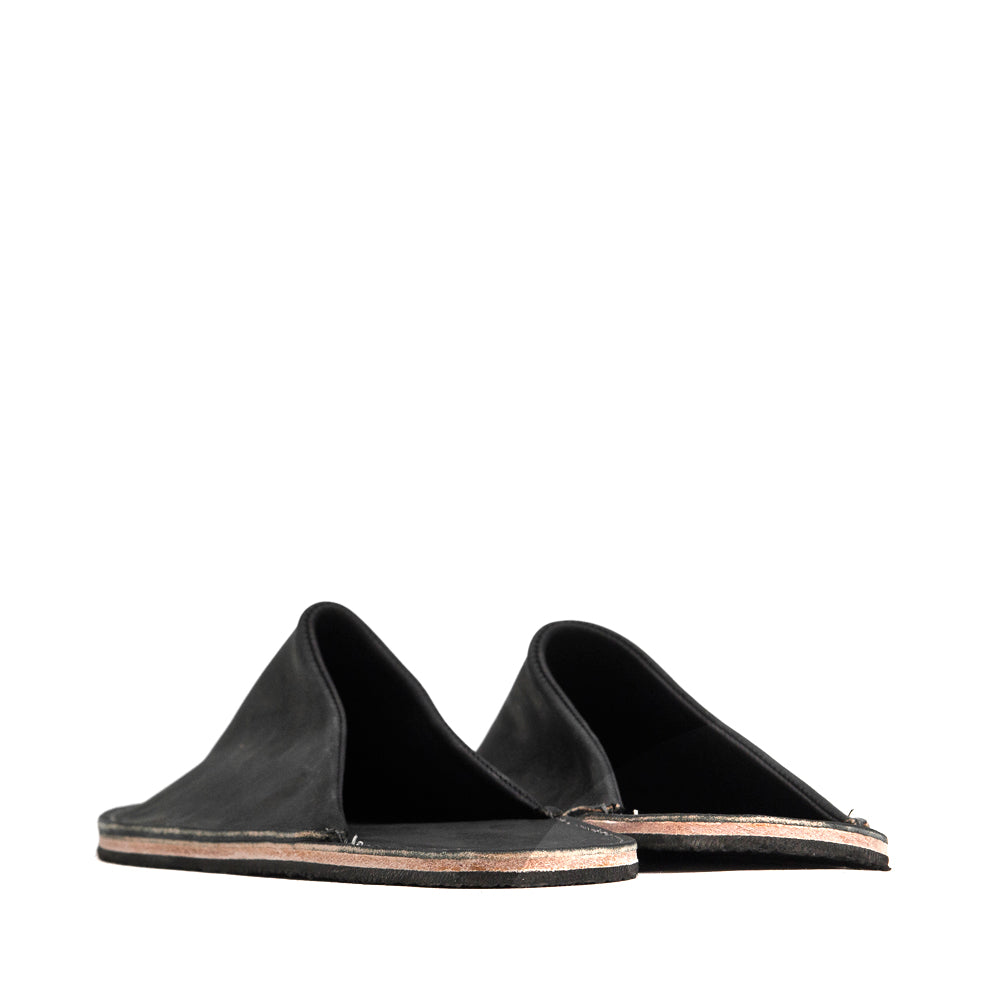Viberg Black Matte Calf Slides at shoplostfound, back