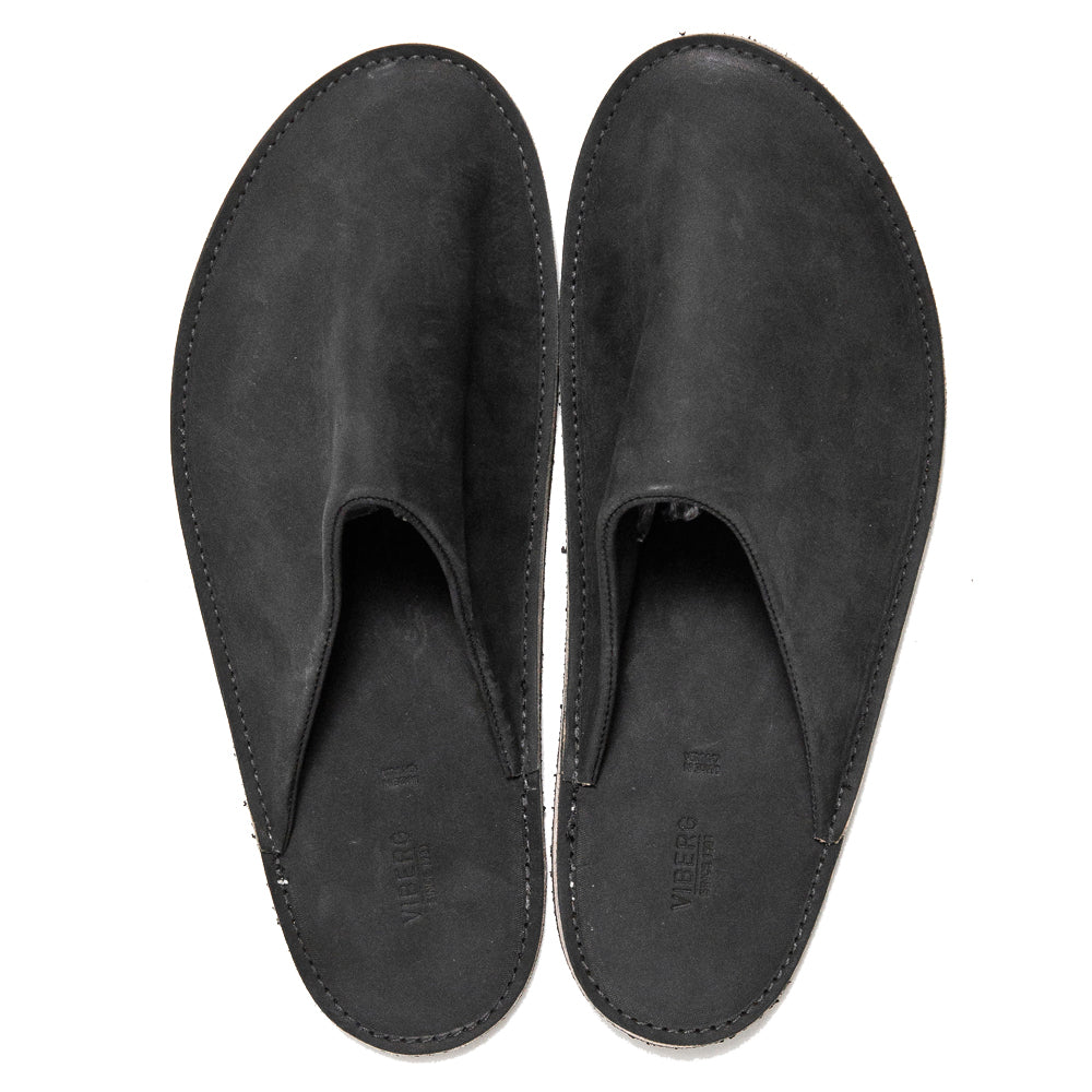 Viberg Black Matte Calf Slides at shoplostfound, top