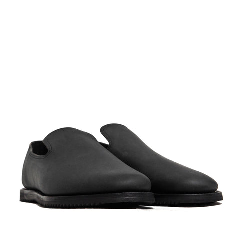 Viberg Black Matte Calf Slippers Mini Ripple at shoplostfound, side