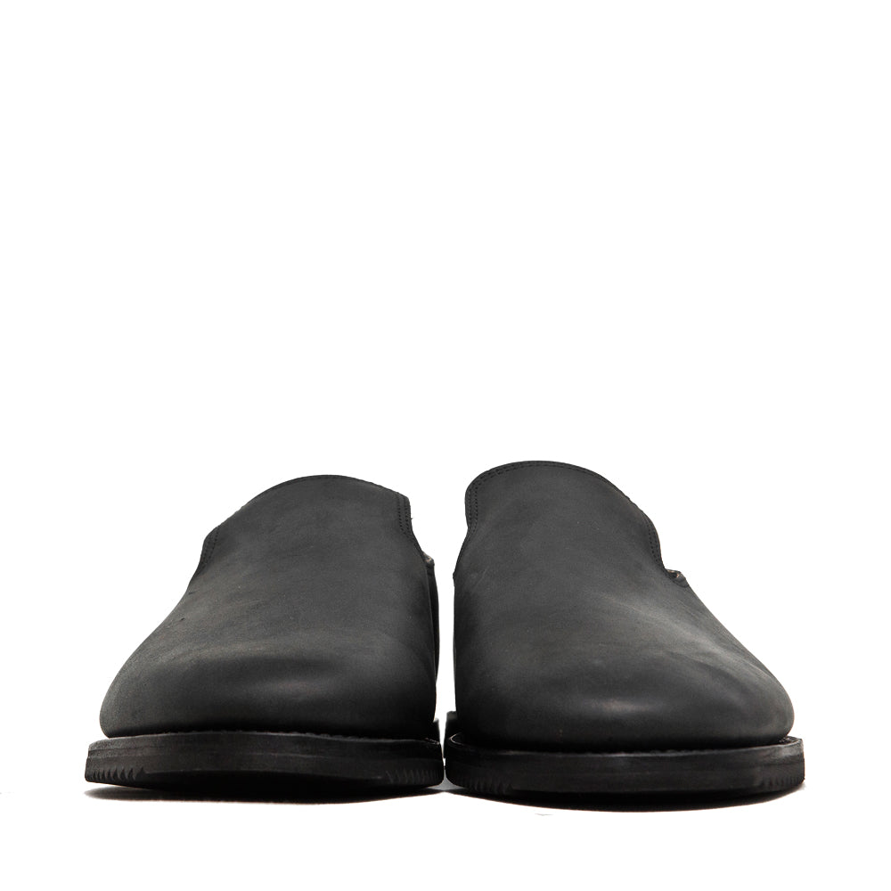 Viberg Black Matte Calf Slippers Mini Ripple at shoplostfound, front