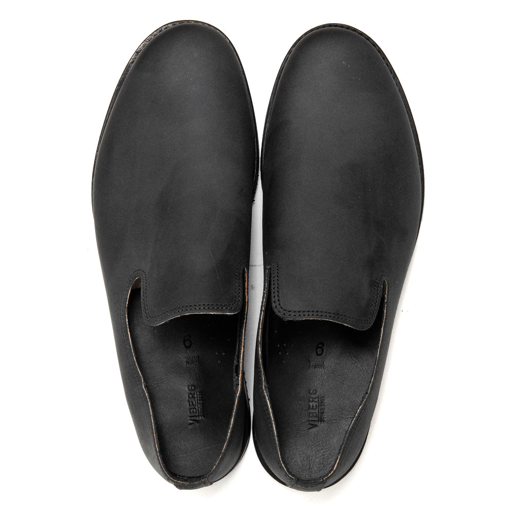 Viberg Black Matte Calf Slippers Mini Ripple at shoplostfound, top