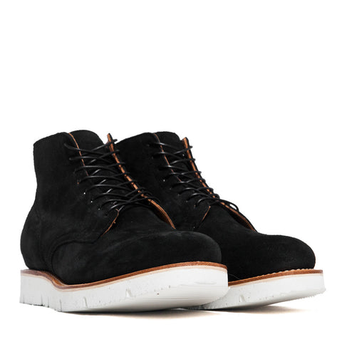 Viberg Black Calf Suede Service Boot at shoplostfound, side