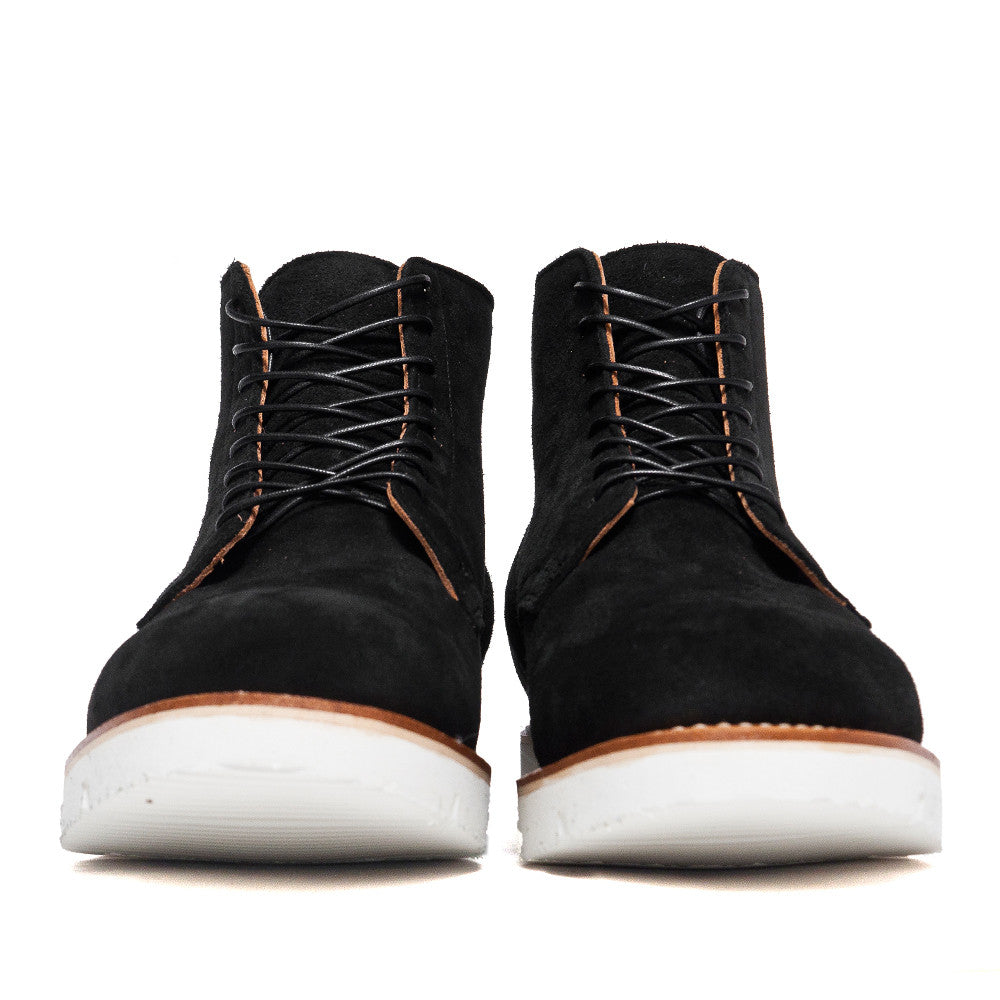 Viberg Black Calf Suede Service Boot at shoplostfound, front