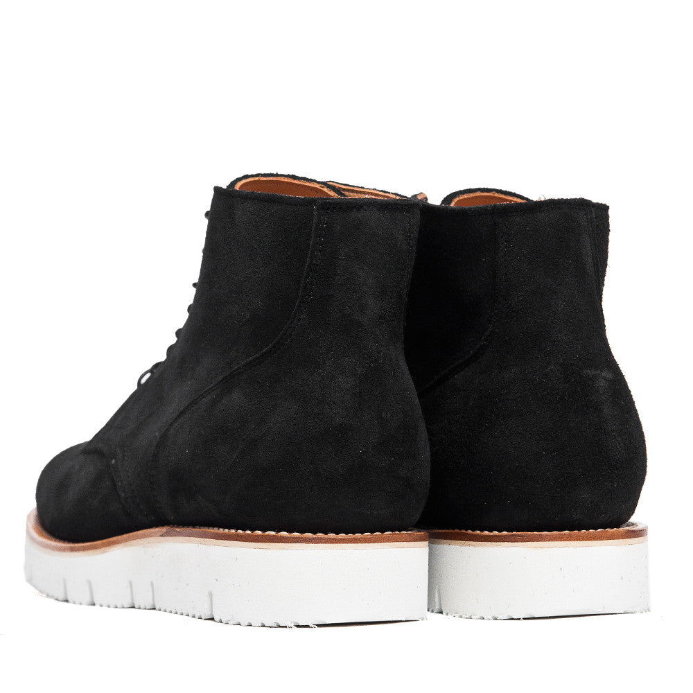 Viberg Black Calf Suede Service Boot at shoplostfound, back