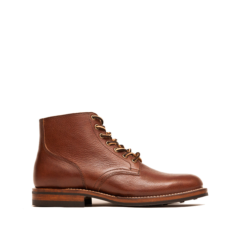 Viberg Brown Tumbled Horsehide Service Boot at shoplostfound, side