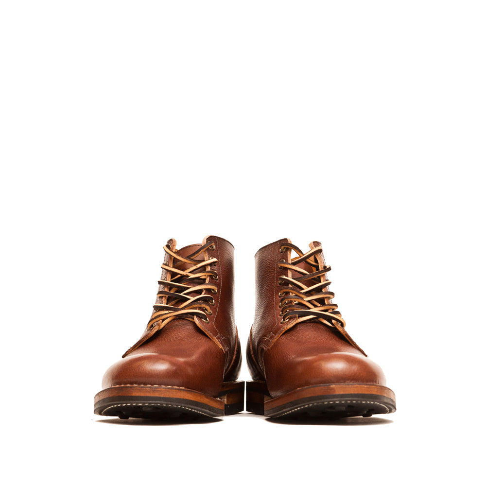 Viberg Brown Tumbled Horsehide Service Boot at shoplostfound, front