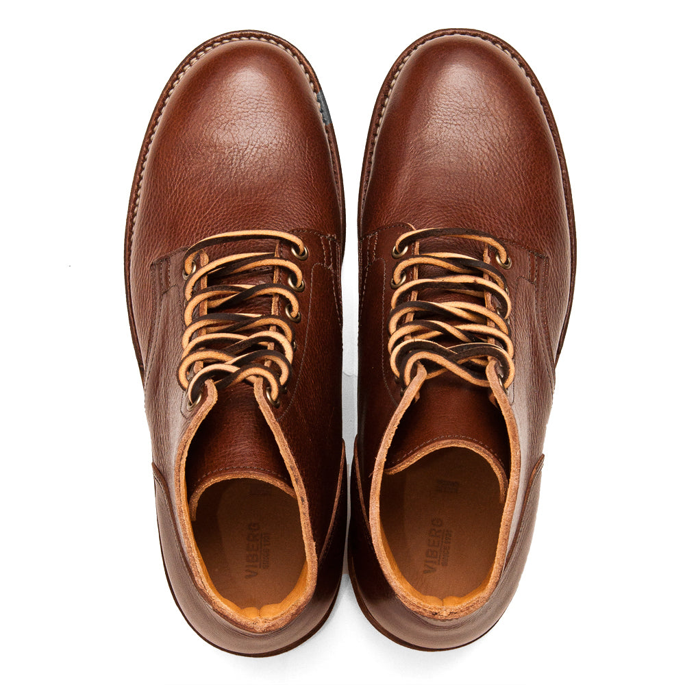Viberg Brown Tumbled Horsehide Service Boot at shoplostfound, top
