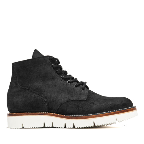 Viberg Charcoal Chamois Roughout Service Boot at shoplostfound, side