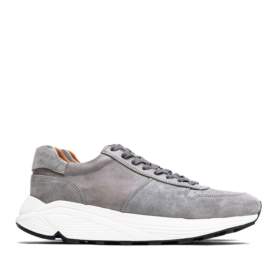 Viberg Grey Italian Horsehide Sneaker at shoplostfound, side