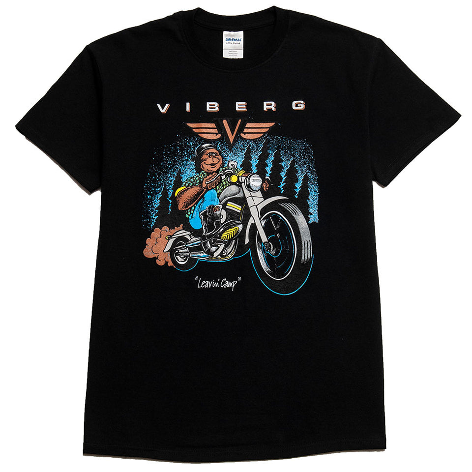Viberg Leaving Camp T-Shirt Black at shoplostfound, front