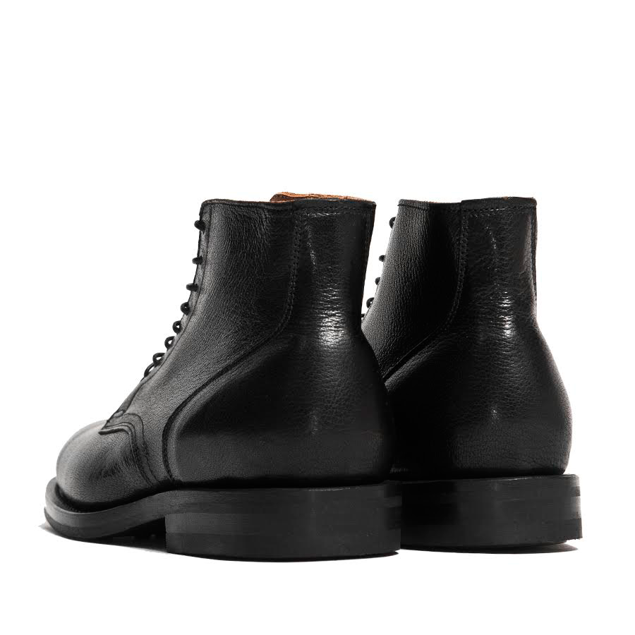 Viberg Black Goat Service Boot at shoplostfound in Toronto, back