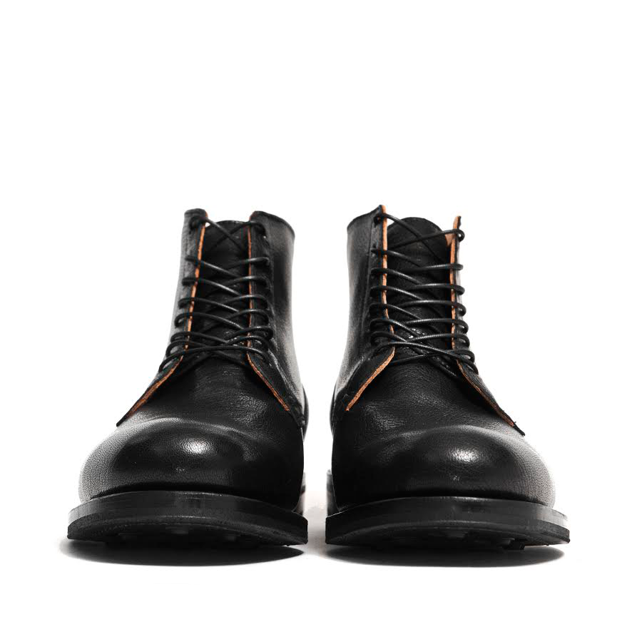 Viberg Black Goat Service Boot at shoplostfound in Toronto, front