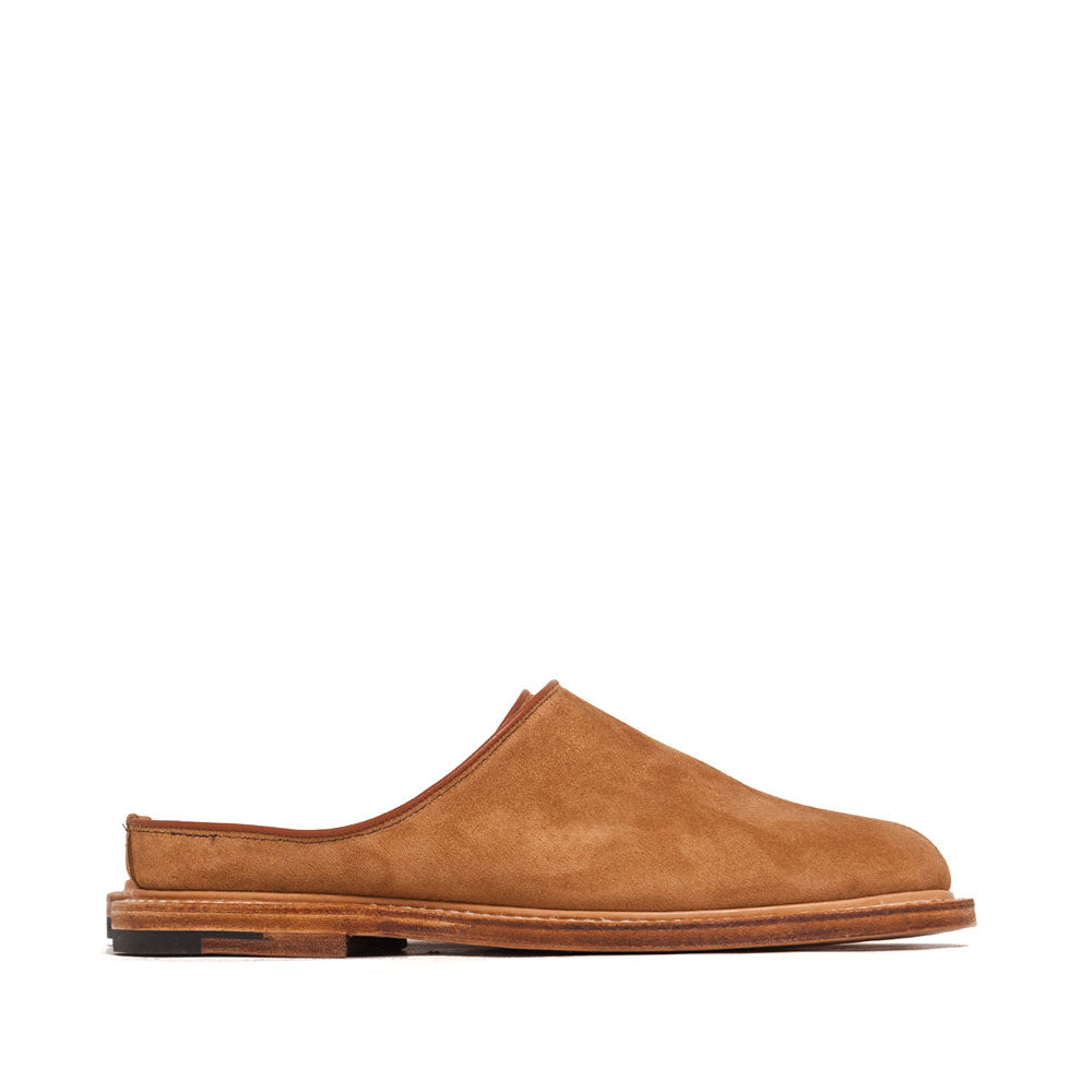 Viberg Mule Slipper Anise Calf Suede at shoplostfound, side