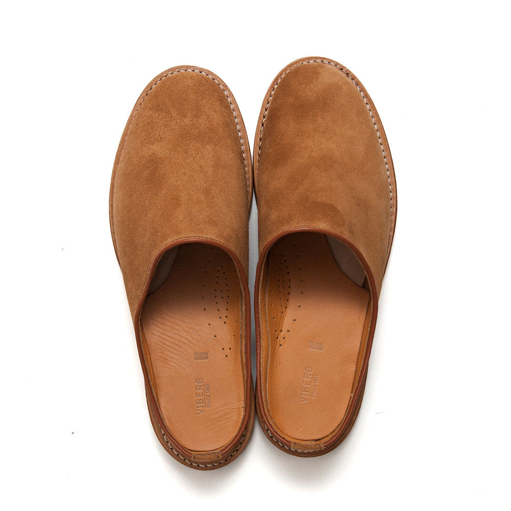 Viberg Mule Slipper Anise Calf Suede at shoplostfound, top