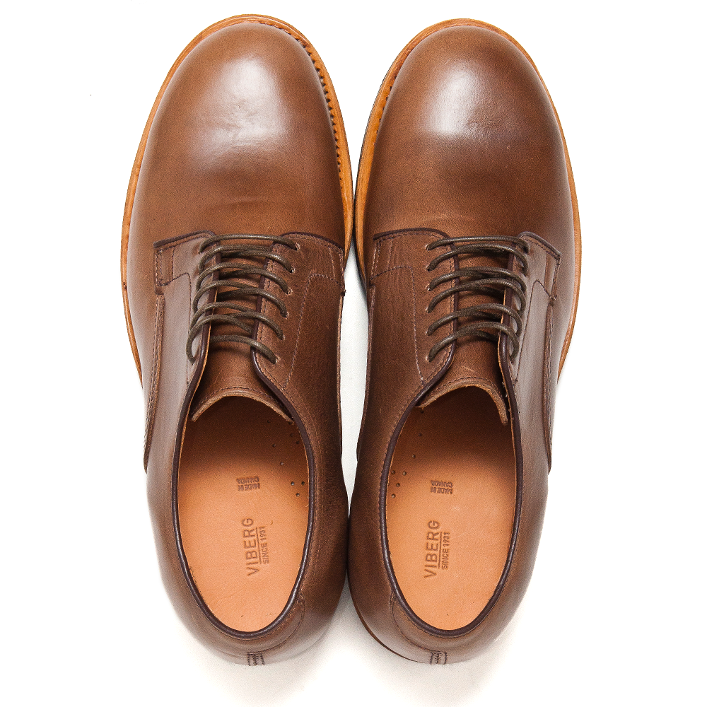 Viberg Natural Chromexcel Derby Shoe at shoplostfound, top