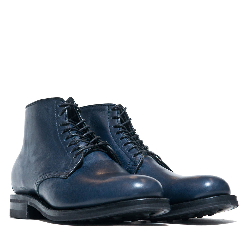 Viberg Navy Horsehide Derby Boot at shoplostfound, 45