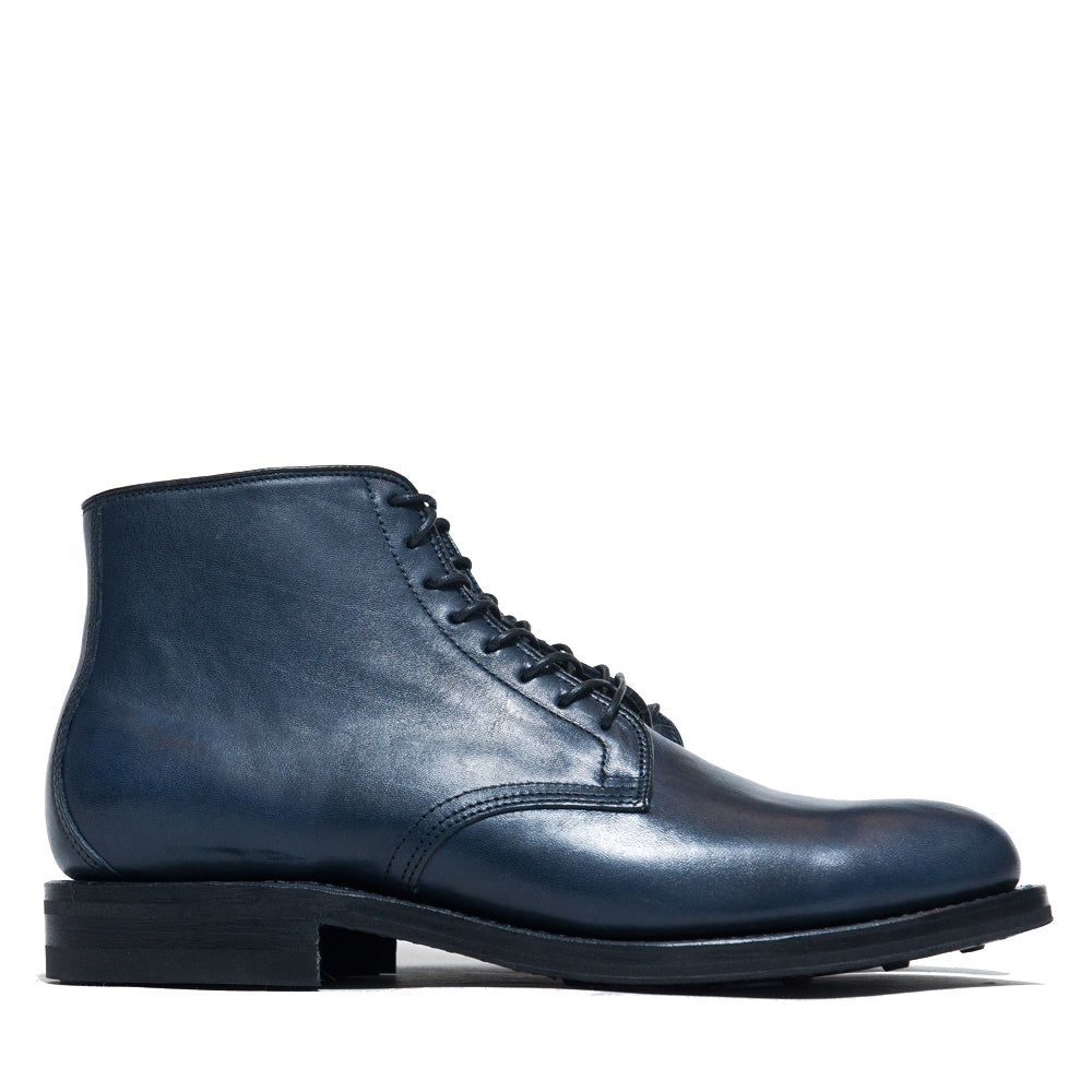 Viberg Navy Horsehide Derby Boot at shoplostfound, side
