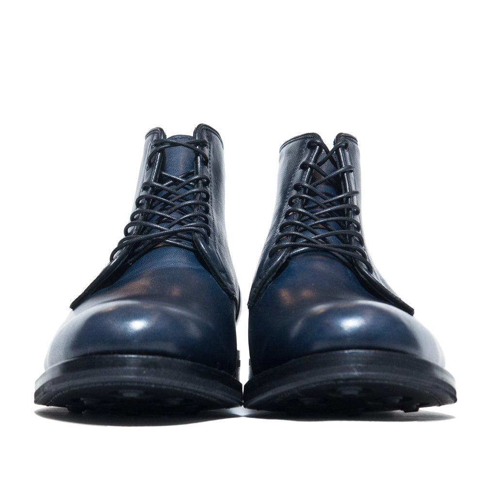 Viberg Navy Horsehide Derby Boot at shoplostfound, front