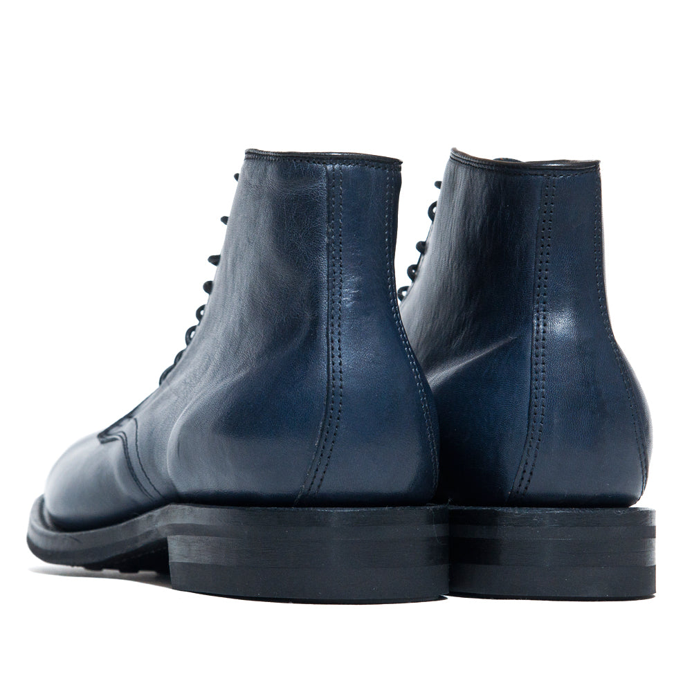 Viberg Navy Horsehide Derby Boot at shoplostfound, back