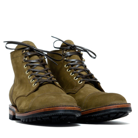 Viberg Olive Nubuck Cap Toe Service Boot at shoplostfound, side