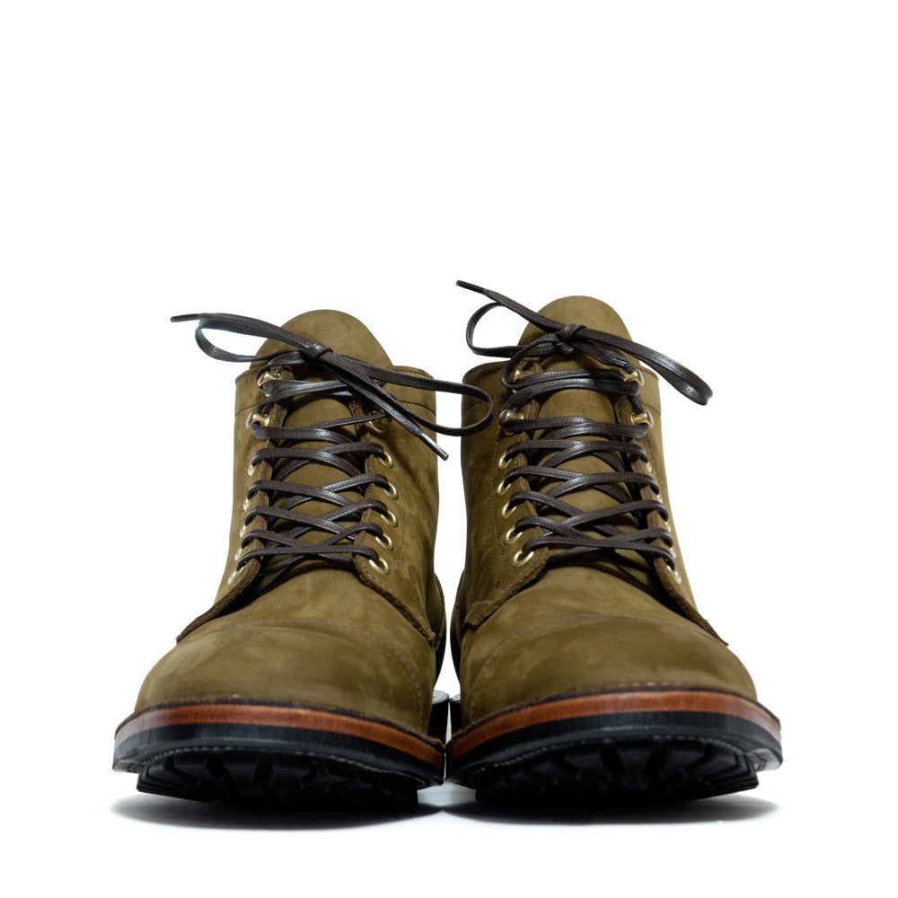 Viberg Olive Nubuck Cap Toe Service Boot at shoplostfound, front