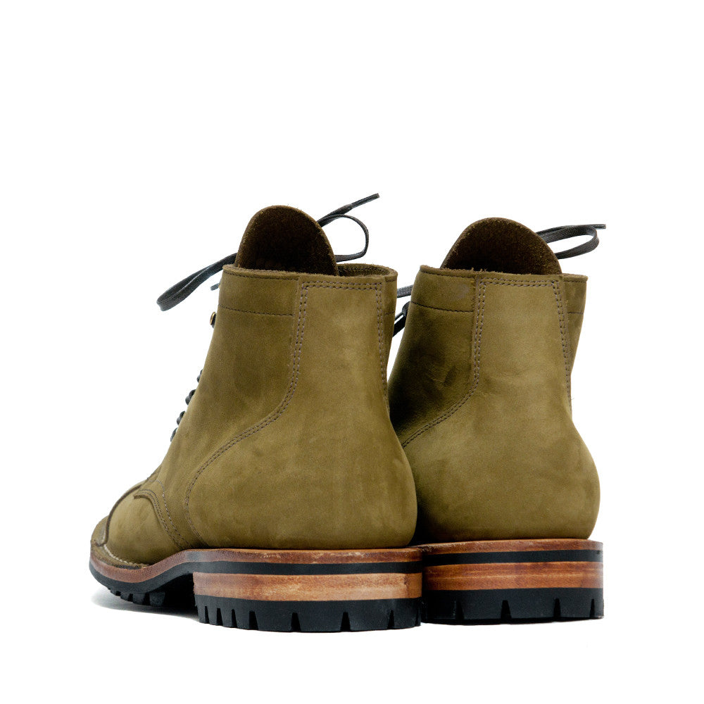 Viberg Olive Nubuck Cap Toe Service Boot at shoplostfound, back