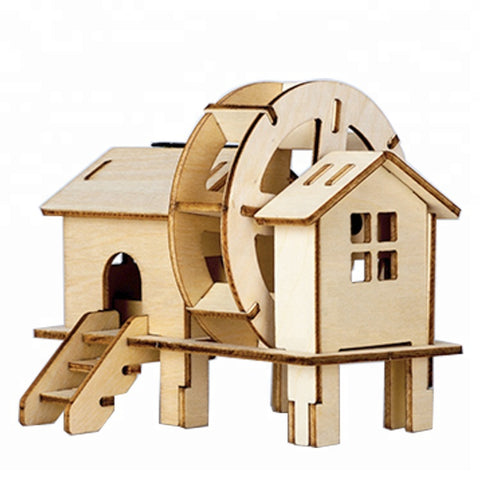 Wincent Solar Energy Series Solar Watermill 3D Wood Puzzle Model