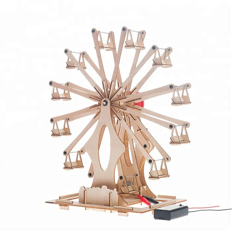 Wincent Educational Toy Series Belt-Driven Spinning Ferris Wheel 3D Wood Puzzle Model