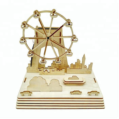 Wincent Solar Energy Series Solar Ferris Wheel 3D Wood Puzzle Model