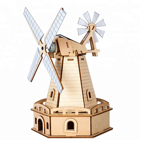 Wincent Solar Energy Series Solar Windmill E 3D Wood Puzzle Model