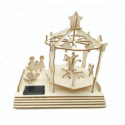 Wincent Solar Energy Series Solar Merry-Go-Round 3D Wood Puzzle Model