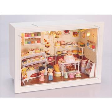 Dollhouse miniature in Frame Box (13801A), Happy Cake house with Music