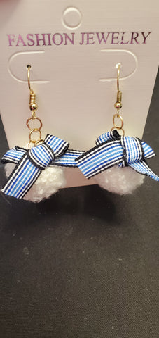 Blue checkered ribbon & White pompom Earrings D2-1