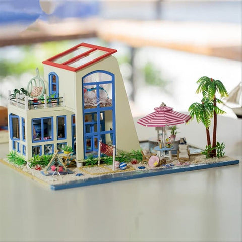 Hoomeda 13840 big blue Doll House  DIY DollHouse Miniature With Furnitures LED Light Wooden Doll House Villa Model Gift Ireland  Toys