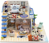 Hoomeda Miniature Doll House Model Wooden Furniture Building Blocks Toys Birthday Gifts BLUE COAST Diy Puzzle Toy M032