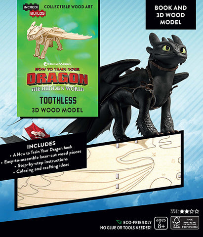 IncrediBuilds DreamWorks How To Train Your Dragon Book and 3D Wood Model