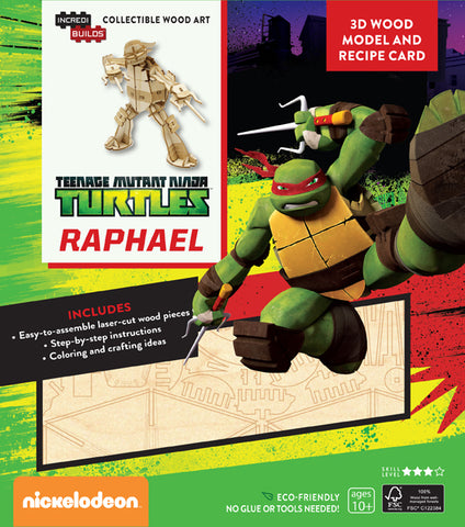 IncrediBuilds Teenage Mutant Ninja Turtles Raphael 3D Wood Model and Recipe Card