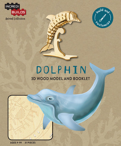 IncrediBuilds Animal Collection Dolphin 3D Wood Model and Booklet