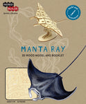IncrediBuilds Animal Collection Manta Ray 3D Wood Model and Booklet
