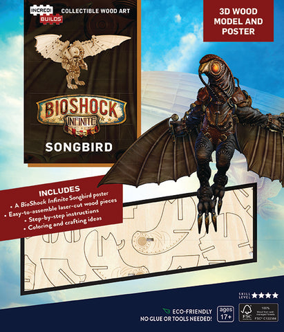 IncrediBuilds BioShock Infinite Songbird 3D Wood Model and Poster