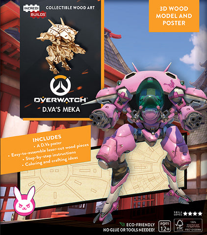 IncrediBuilds Overwatch D.Va's MEKA 3D Wood Model and Poster