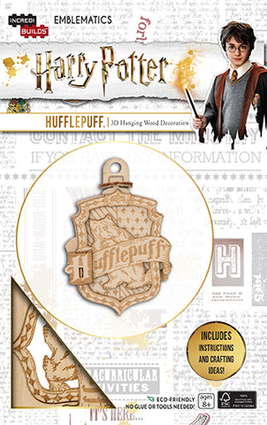 IncrediBuilds Emblematics Harry Potter Hufflepuff 3D Hanging Wood Decoration Model