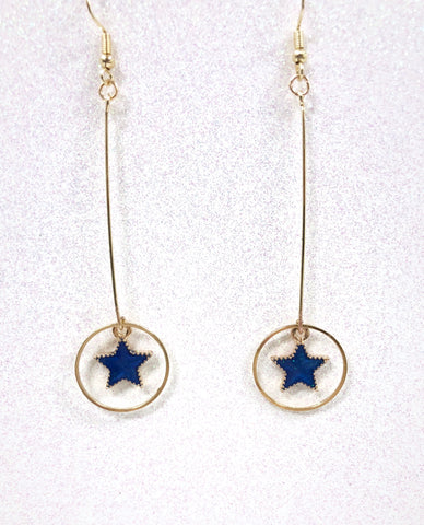 Blue Star & Ring Pendant Earrings B2-3