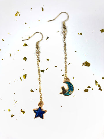 Blue Cat on the Moon & Star Pendant Earrings B2-4