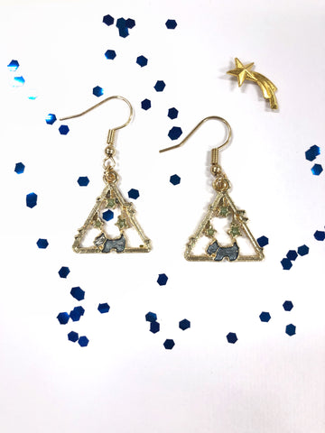 Blue Dog & Star Pendant Earrings B2-5