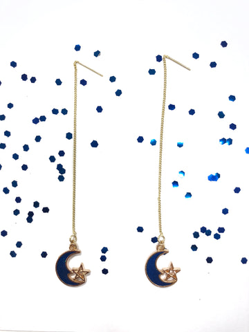 Blue Moon & Star Pendant Earrings B2-2